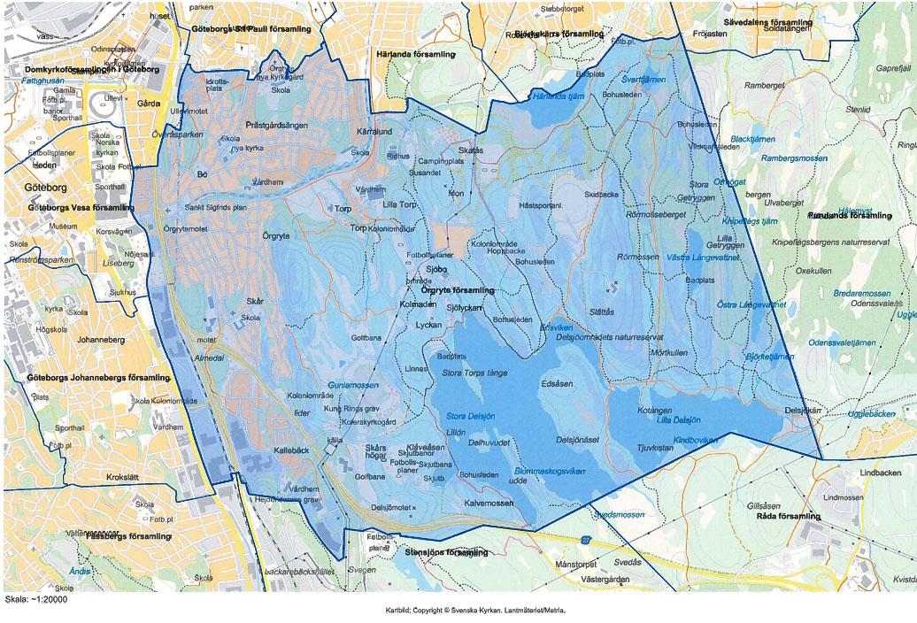Här bor 16 165 örgrytebor. Karta över Örgryte Församling är samma område som Statistiska Centralbyrån kallar distrikt.