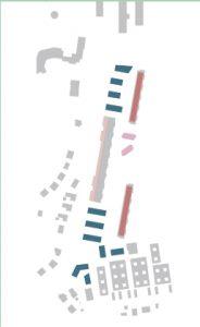 Illustration över de nya byggnaderns placering