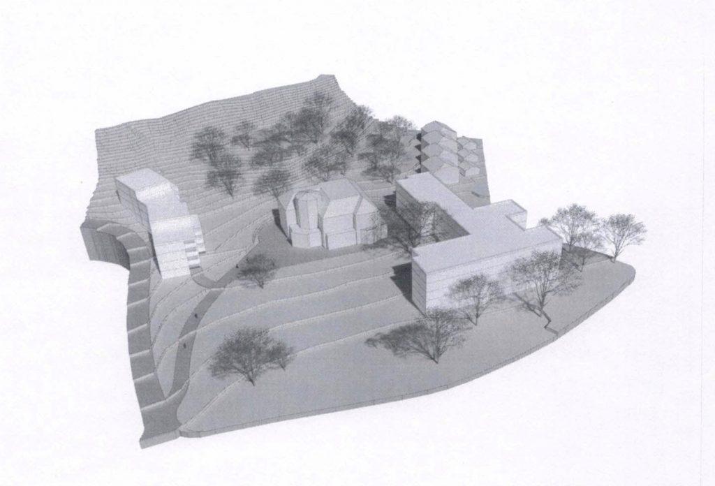 Illustration som visar Villa Överås inbäddad bakom och mellan två femvåningsbyggnader